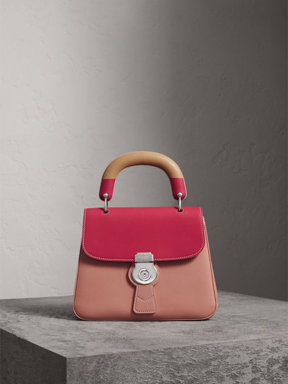The Medium DK88 Top Handle Bag with Geometric Print in Ash Rose/russet