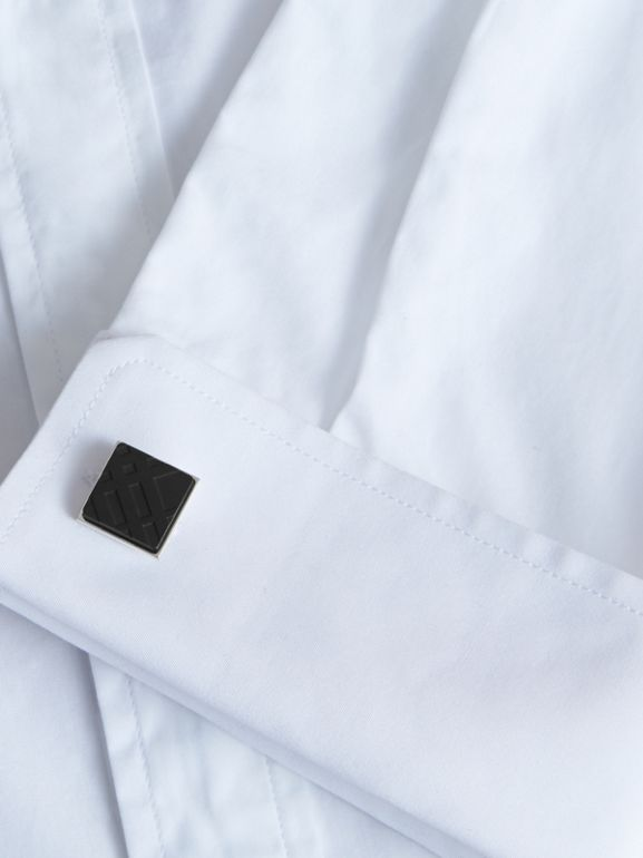 Check-engraved Square Cufflinks in Black - Men | Burberry - cell image 1