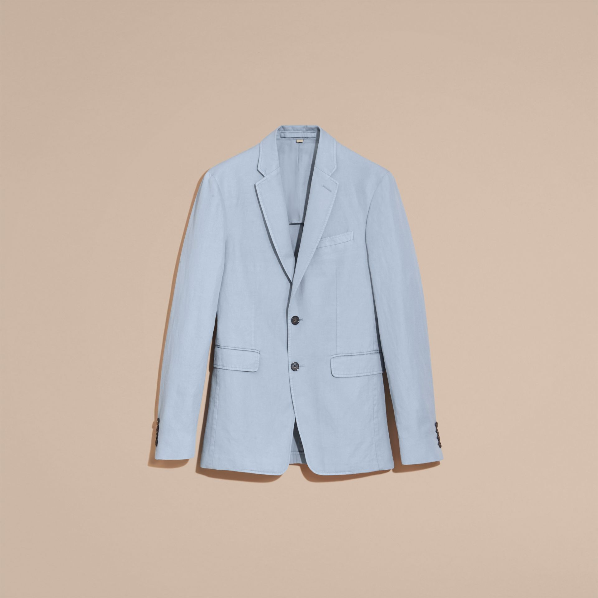 Slim Fit Cotton Linen Jacket in Pale Blue - Men | Burberry - gallery image 3