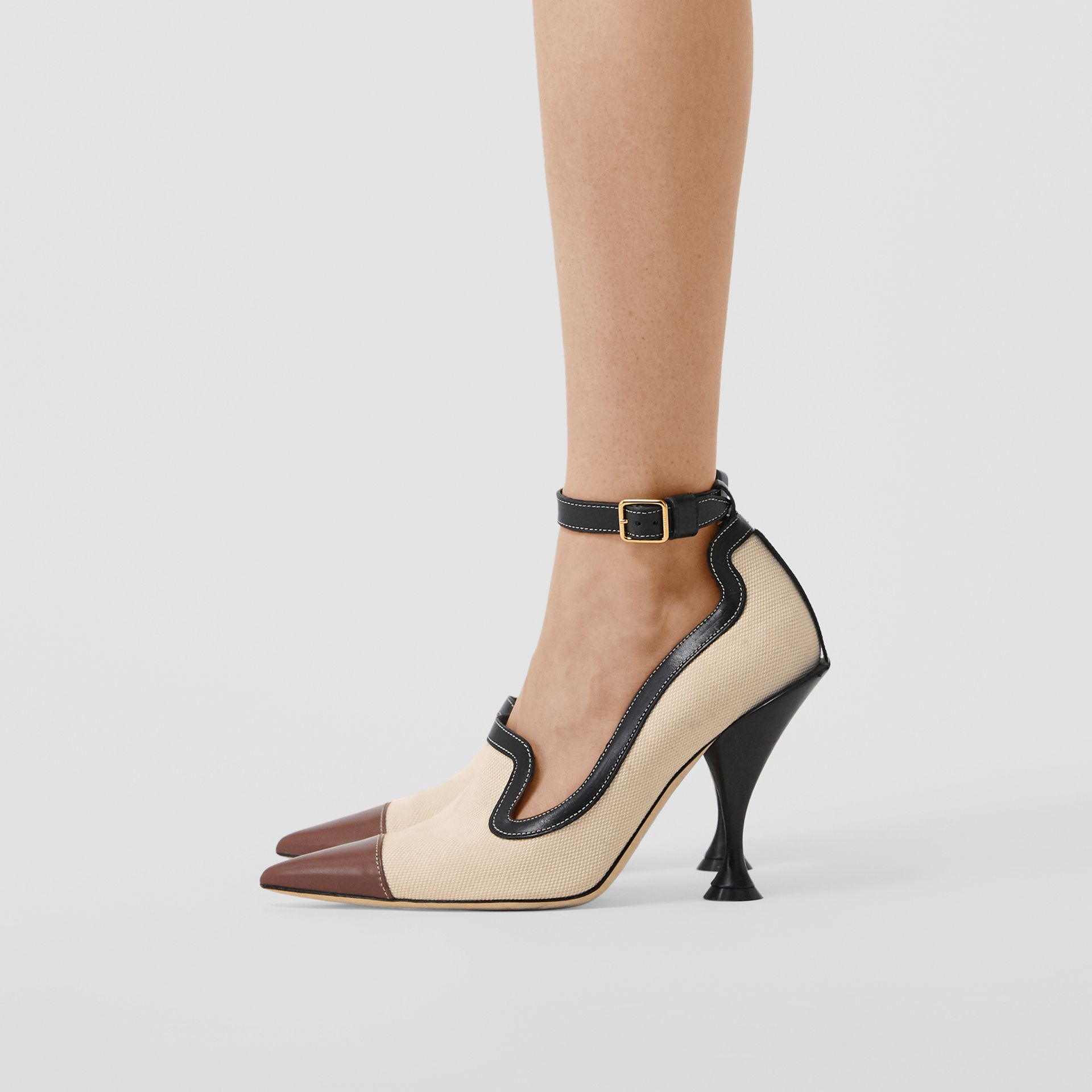 Cotton Canvas and Leather Point-toe Pumps in Natural/black - Women | Burberry - gallery image 2