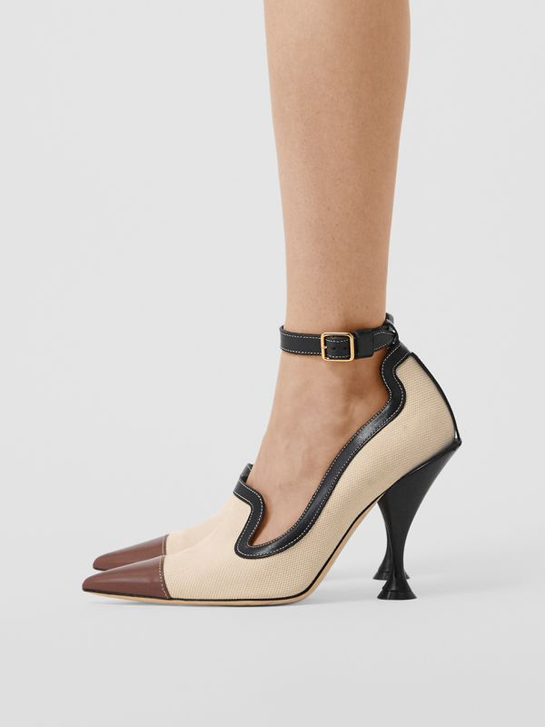 Cotton Canvas and Leather Point-toe Pumps in Natural/black - Women | Burberry Singapore - cell image 2