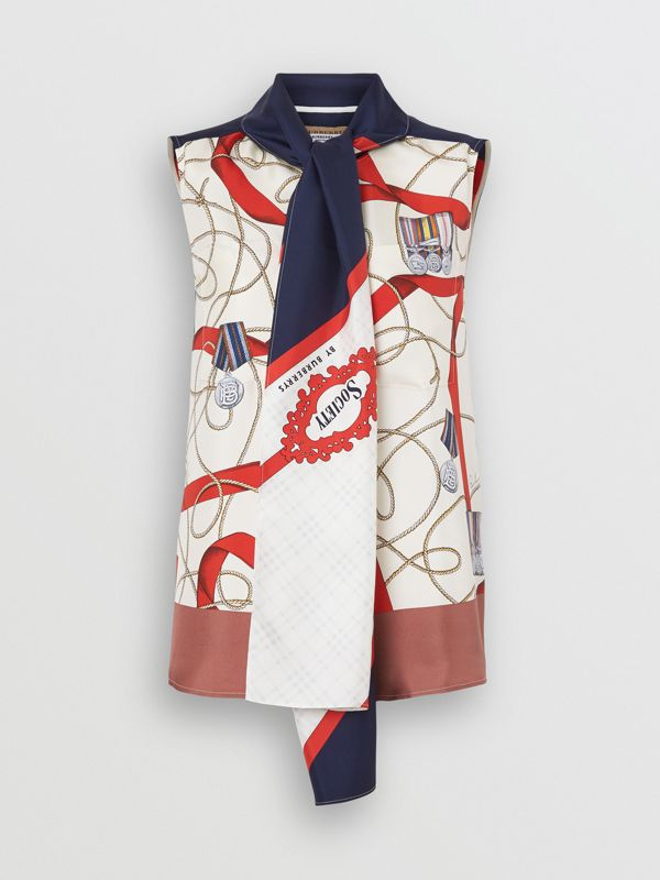Sleeveless Archive Print Pussy-bow Blouse in Blue - Women | Burberry - cell image 3