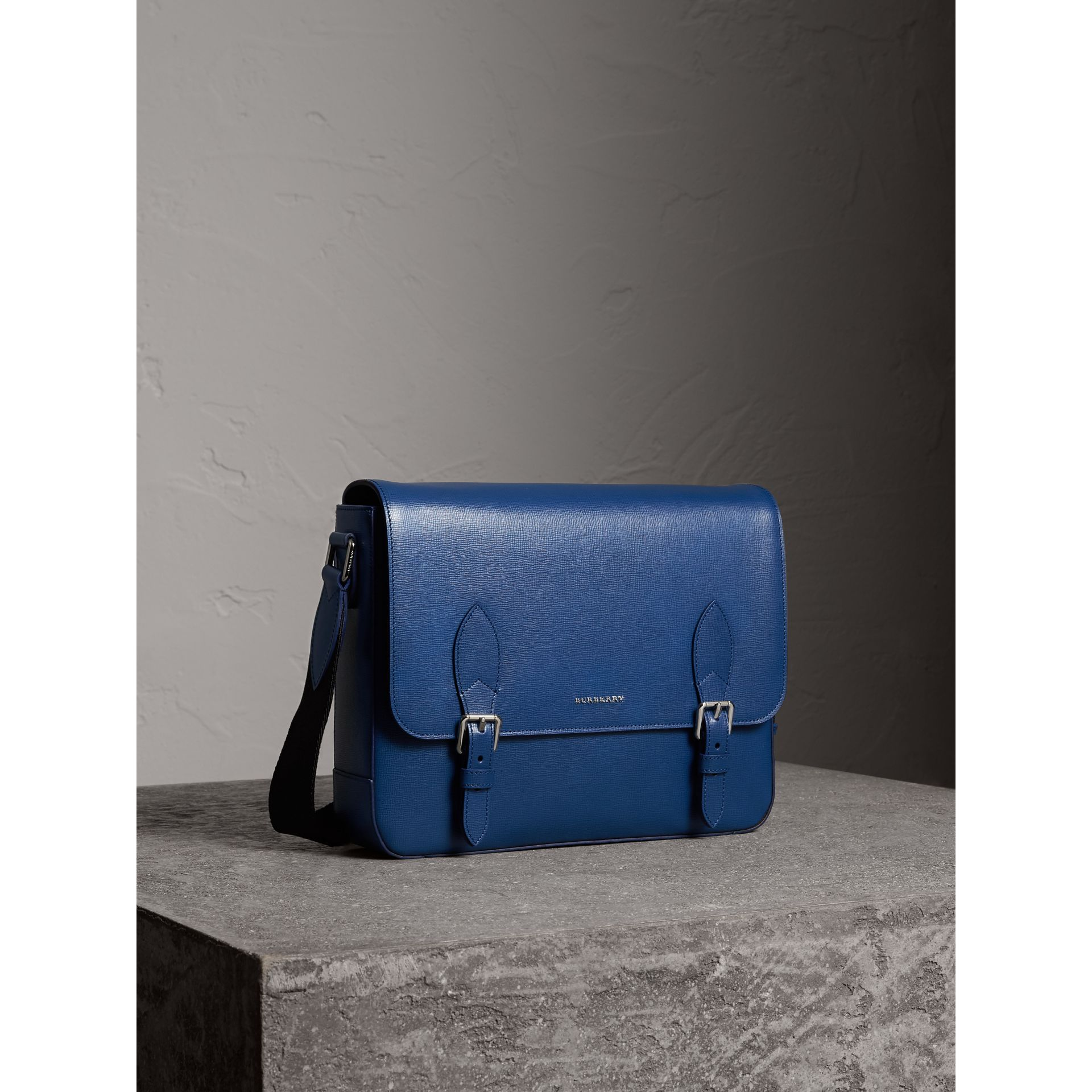 Medium London Leather Messenger Bag in Deep Blue - Men | Burberry - gallery image 6