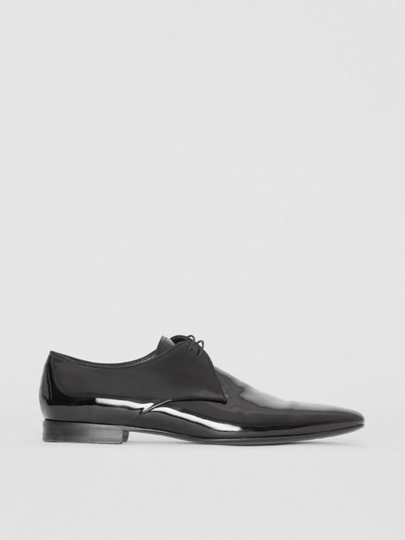 Туфли из блестящей кожи на шнурках (Черный)
