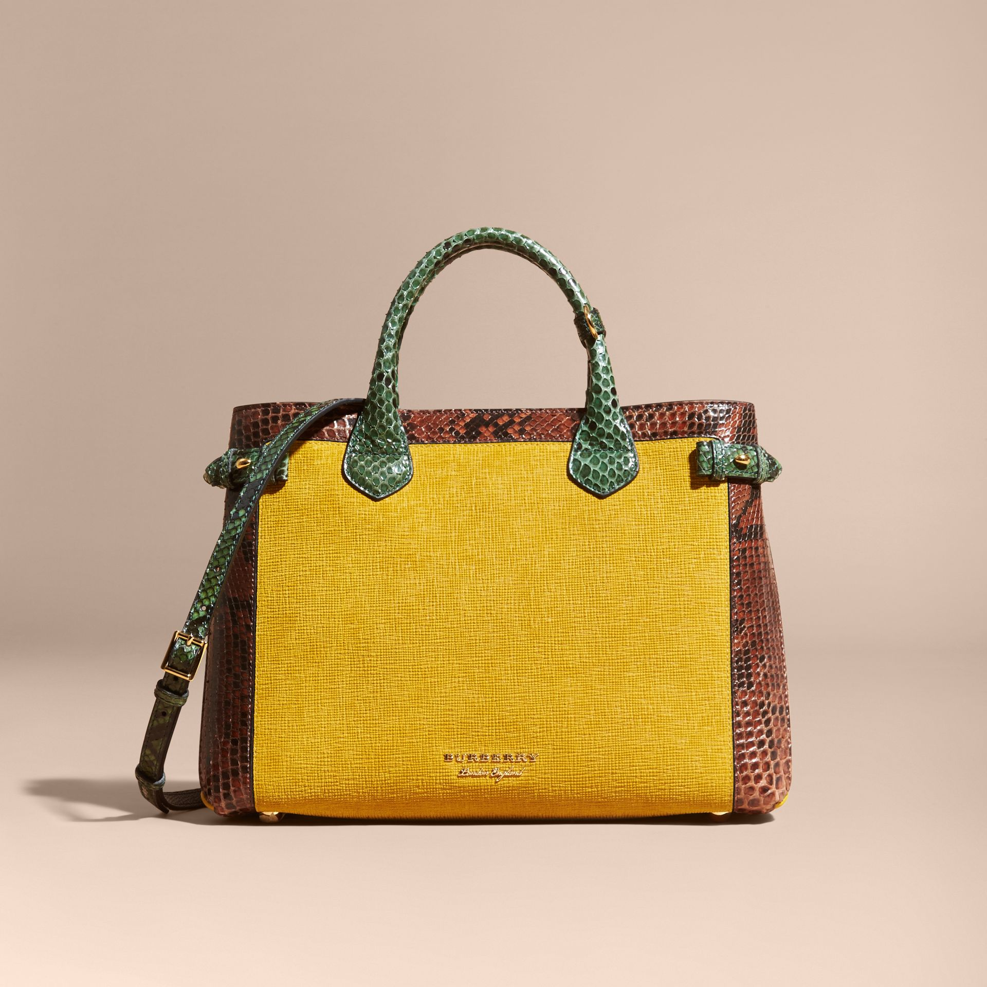 The Medium Banner in Leather, Python and House Check in Larch Yellow - Women | Burberry - gallery image 9
