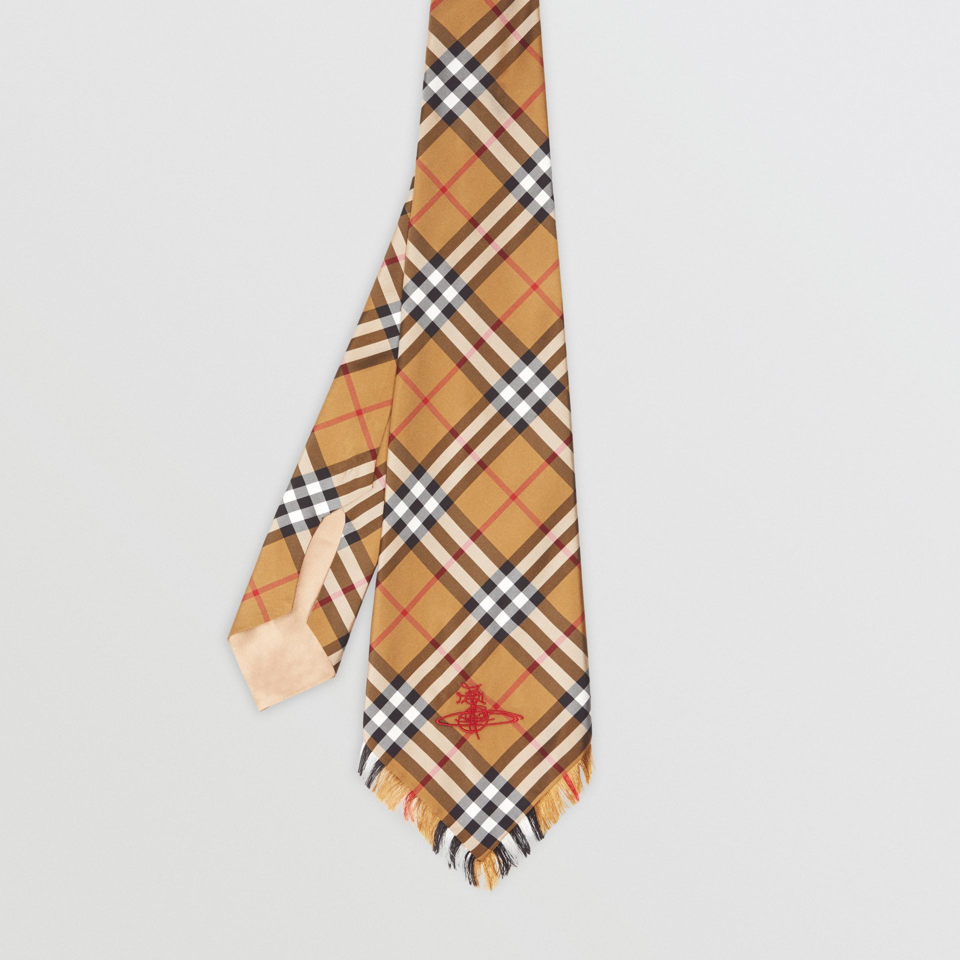 Wide Cut Vintage Check Silk Tie in Antique Yellow | Burberry United Kingdom - gallery image 3