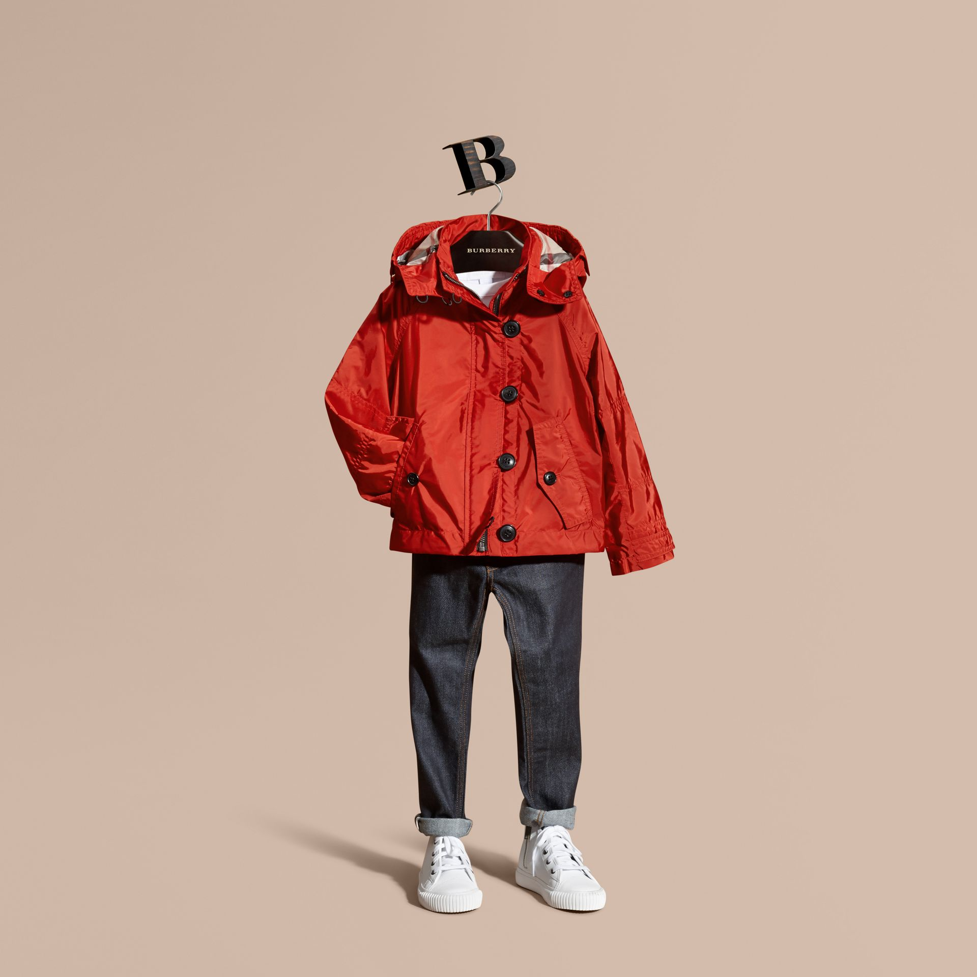 Military red Technical Jacket with Hood - gallery image 1