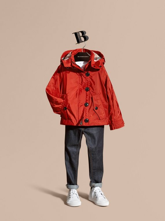 Technical Jacket with Hood Military Red