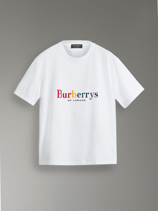 Reissued Cotton T-shirt in Rainbow - Women | Burberry United States - cell image 3