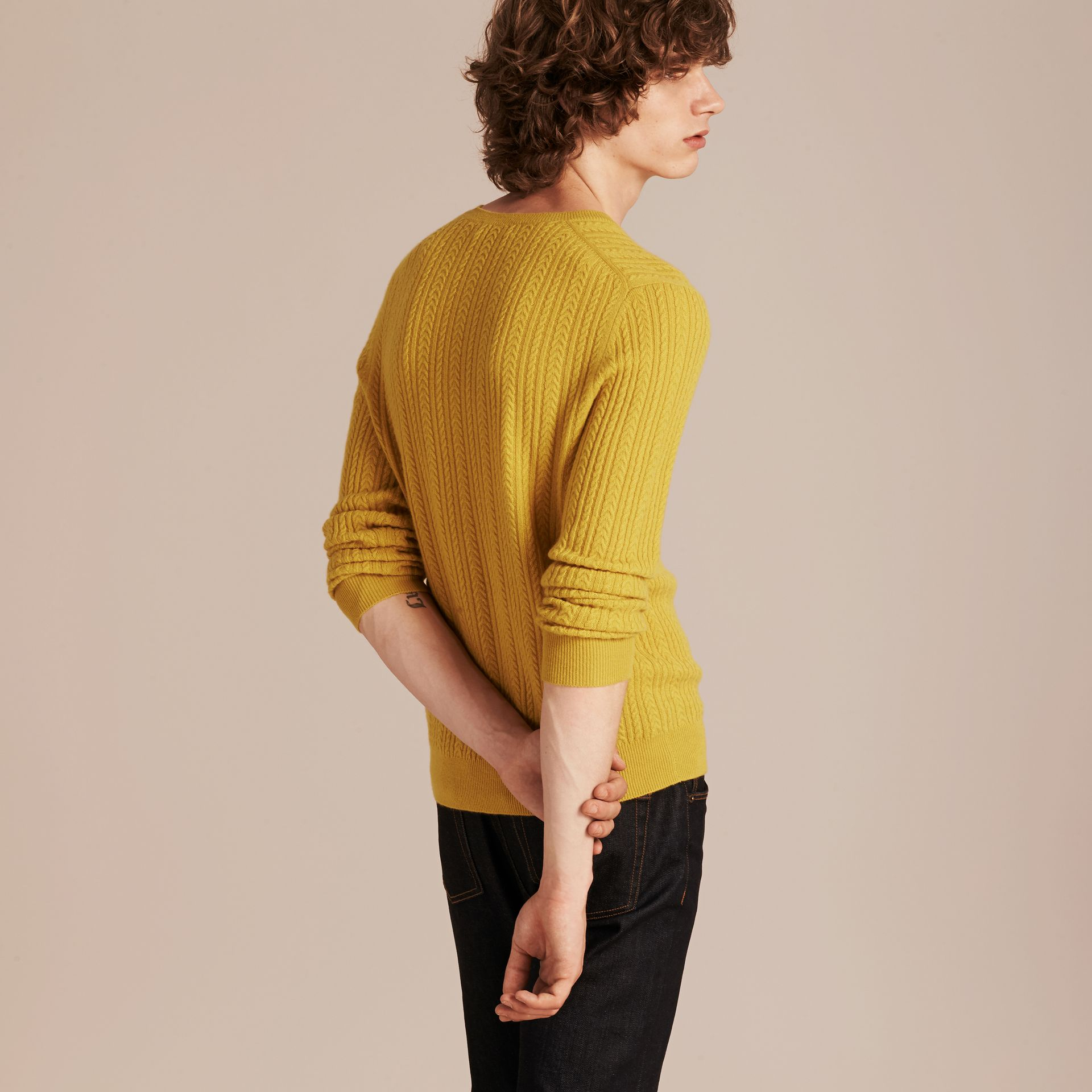 Citrus yellow Aran Knit Cashmere Sweater Citrus Yellow - gallery image 3