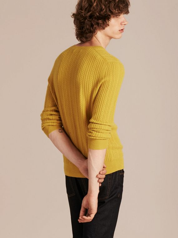 Citrus yellow Aran Knit Cashmere Sweater Citrus Yellow - cell image 2