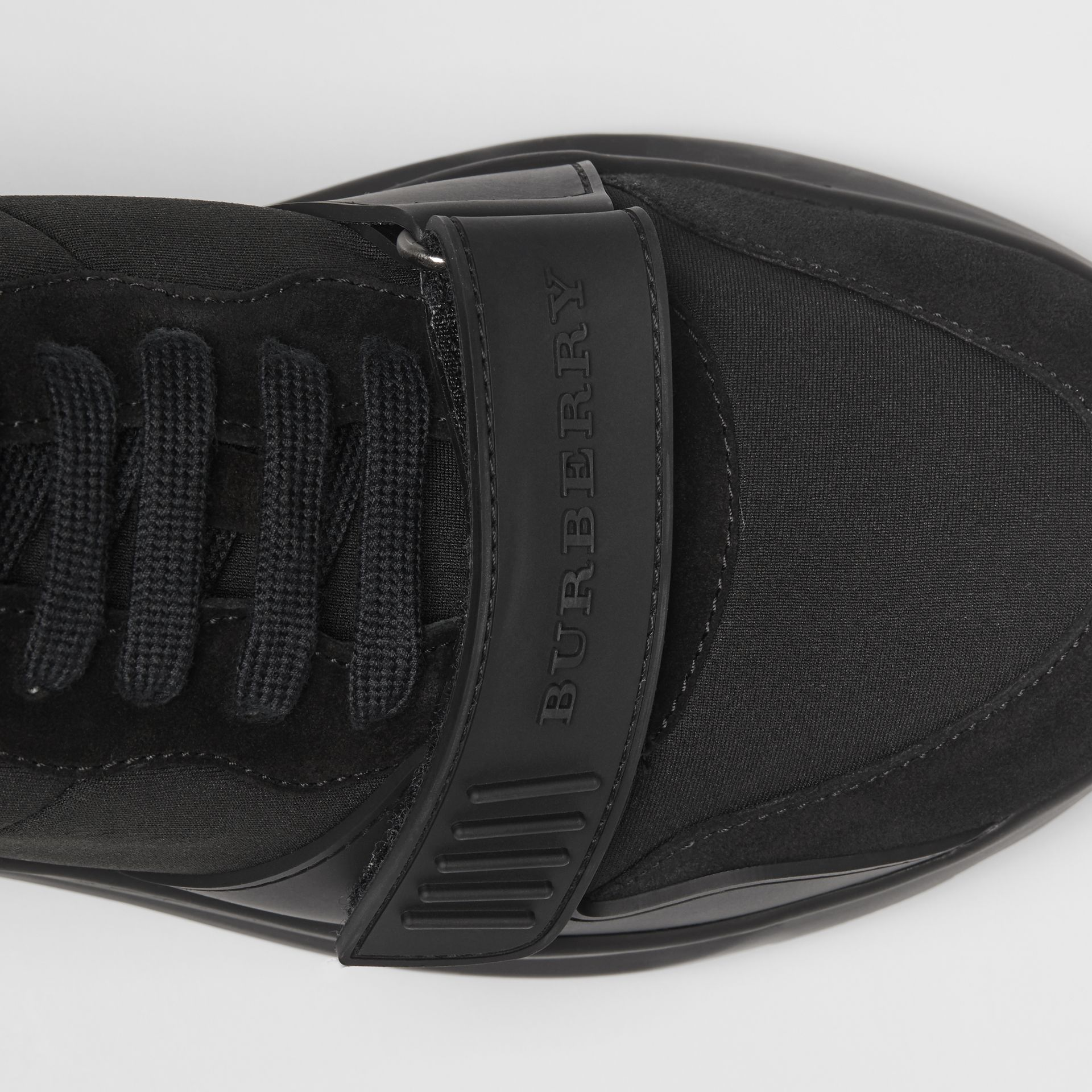 Suede, Neoprene and Leather Sneakers in Black - Men | Burberry - gallery image 1