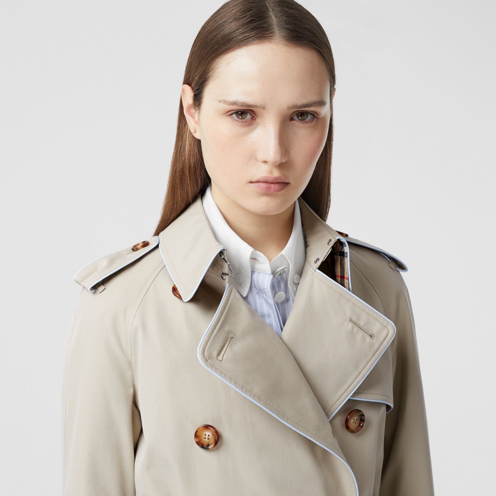 Piped Cotton Gabardine Trench Coat in Stone - Women | Burberry - gallery image 1
