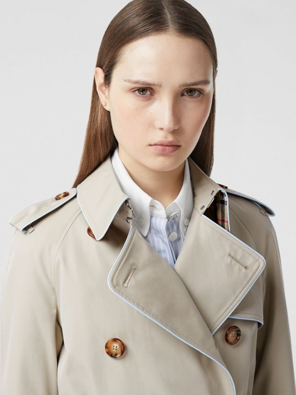 Piped Cotton Gabardine Trench Coat in Stone - Women | Burberry - cell image 1