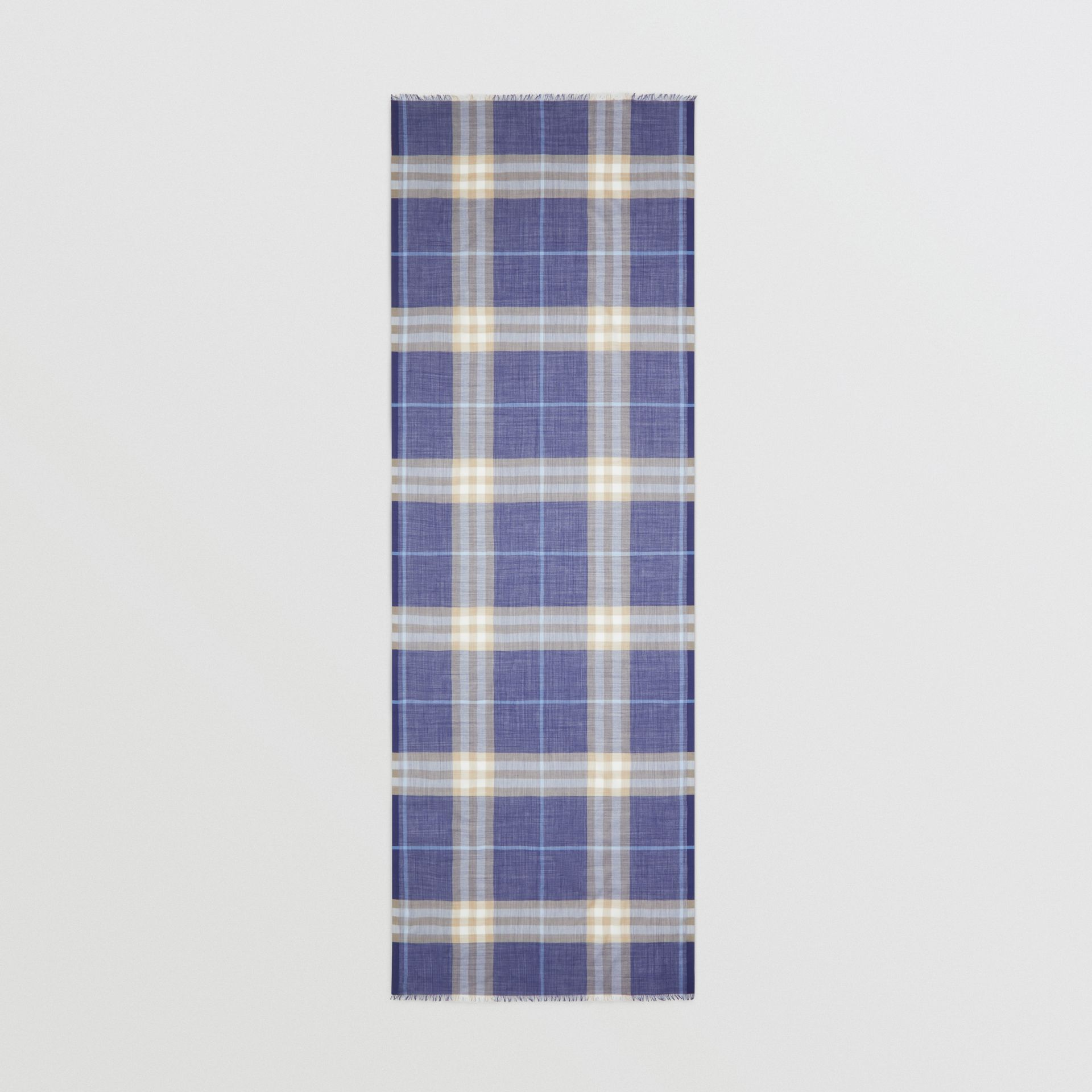 Lightweight Check Wool Silk Scarf in Inky Blue | Burberry - gallery image 5