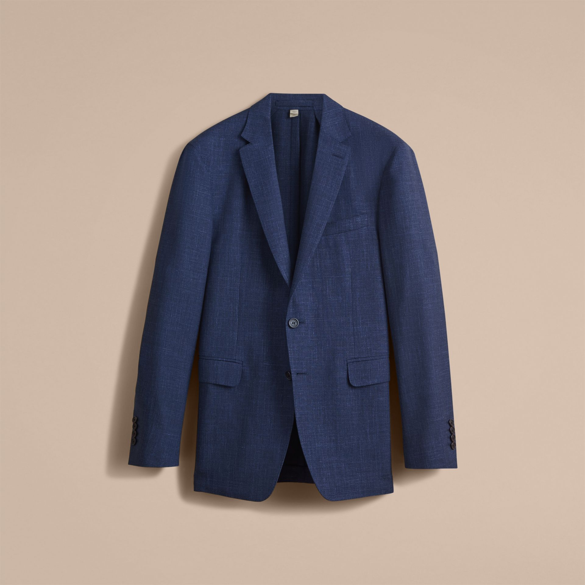 Modern Fit Wool Silk Linen Tailored Half-canvas Jacket in Steel Blue - Men | Burberry Hong Kong - gallery image 4