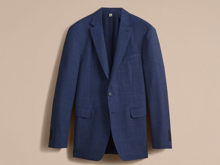 Modern Fit Wool Silk Linen Tailored Half-canvas Jacket in Steel Blue - Men | Burberry - cell image 4