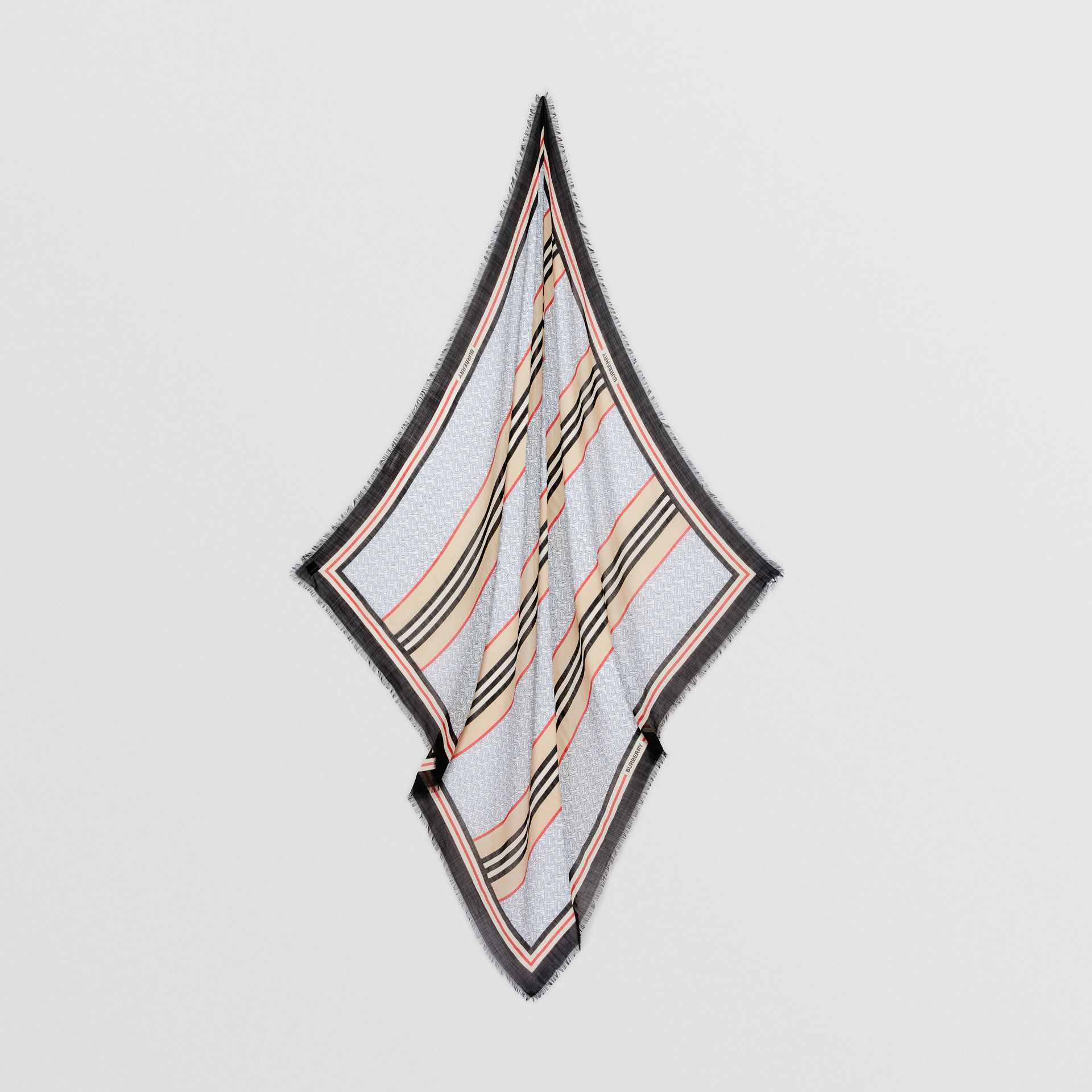 Icon Stripe Monogram Print Wool Silk Square Large Scarf in Light Blue | Burberry - gallery image 4