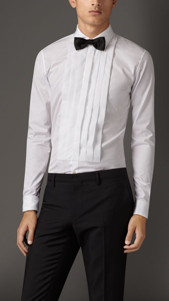 Slim Fit Cotton Poplin Dress Shirt in White