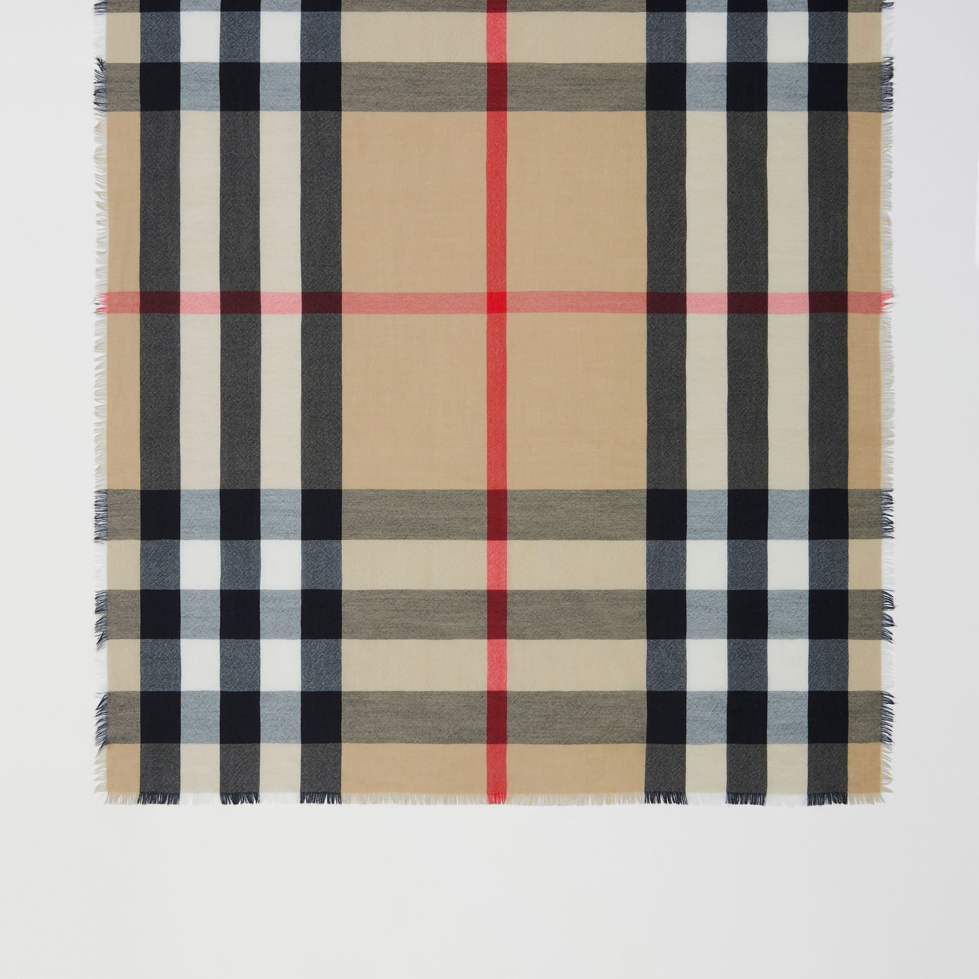 Lightweight Check Cashmere Scarf in Archive Beige | Burberry - gallery image 2