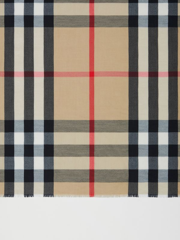 Lightweight Check Cashmere Scarf in Archive Beige | Burberry - cell image 2