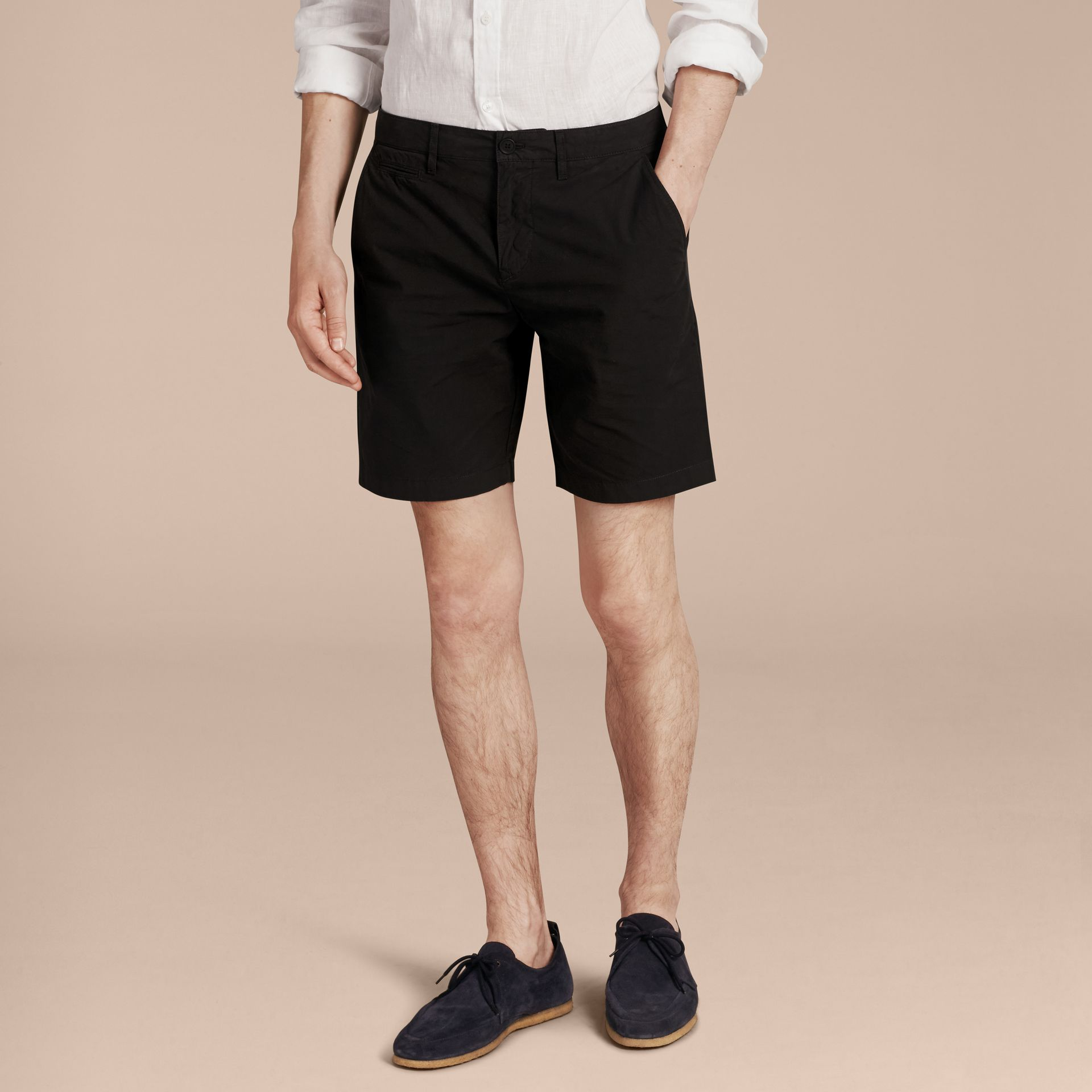Black Cotton Poplin Chino Shorts Black - gallery image 6