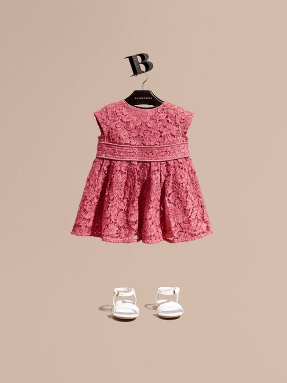 Cap Sleeve Macramé Lace Dress in Pink Azalea