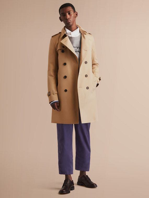 The Kensington – Long Heritage Trench Coat in Honey - Men | Burberry Singapore