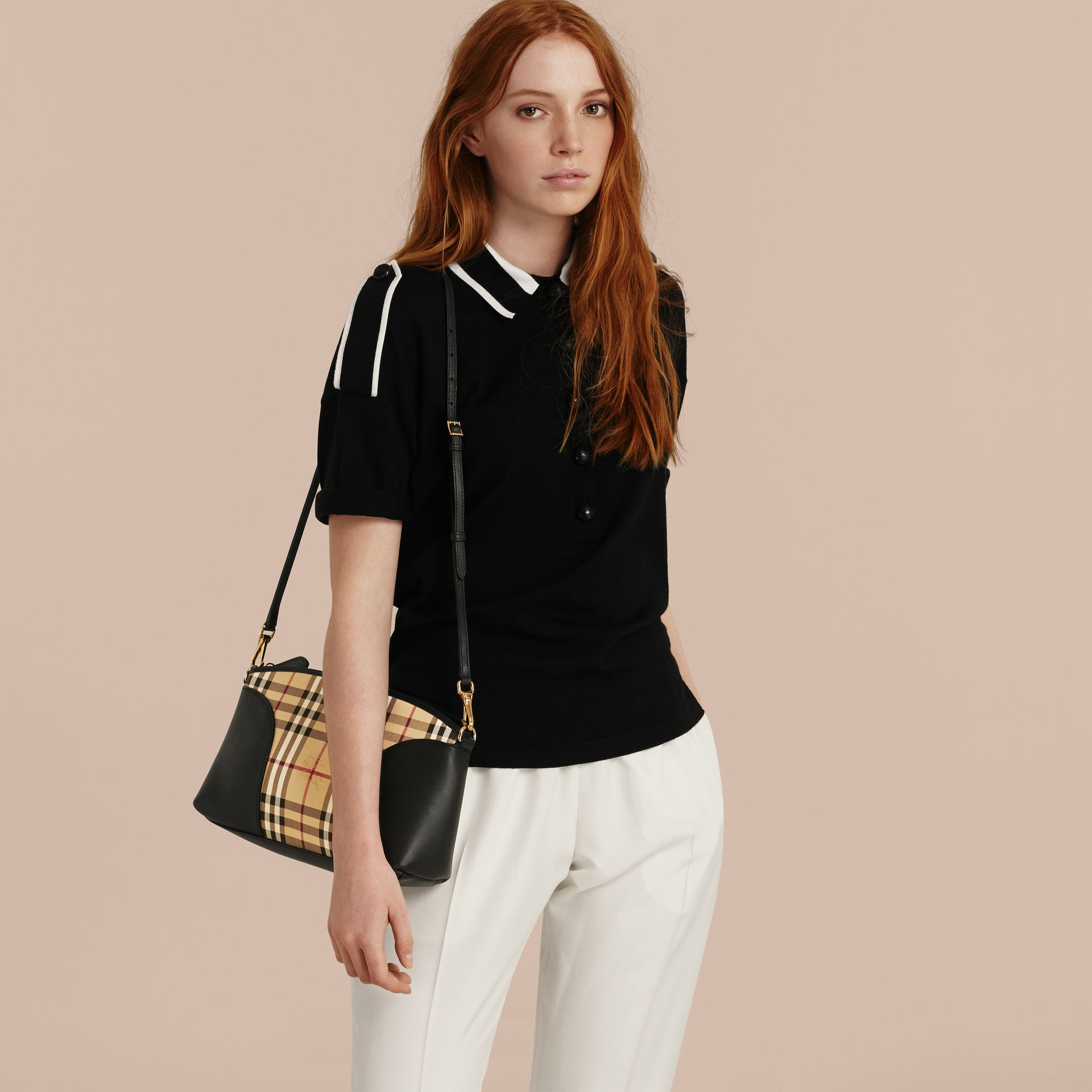 Horseferry Check and Leather Clutch Bag in Honey/black - gallery image 4