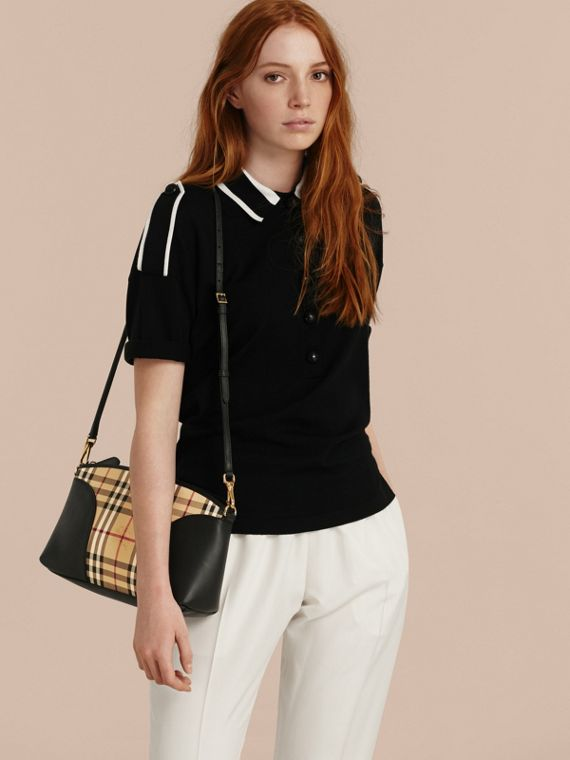 Horseferry Check and Leather Clutch Bag in Honey/black - cell image 3