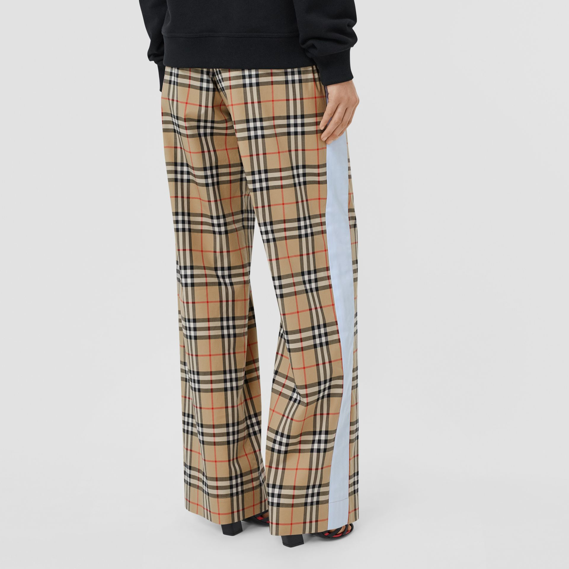 Vintage Check Stretch Cotton Trousers in Archive Beige - Women | Burberry - gallery image 2