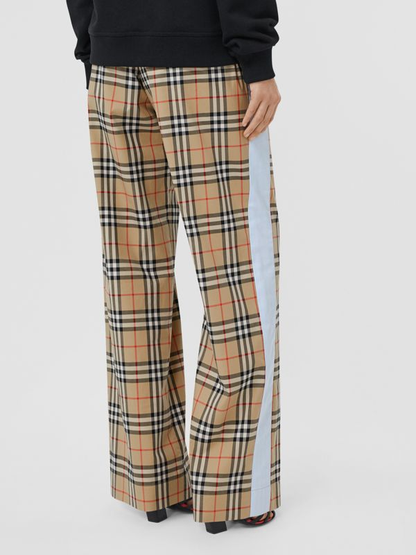 Vintage Check Stretch Cotton Trousers in Archive Beige - Women | Burberry - cell image 2