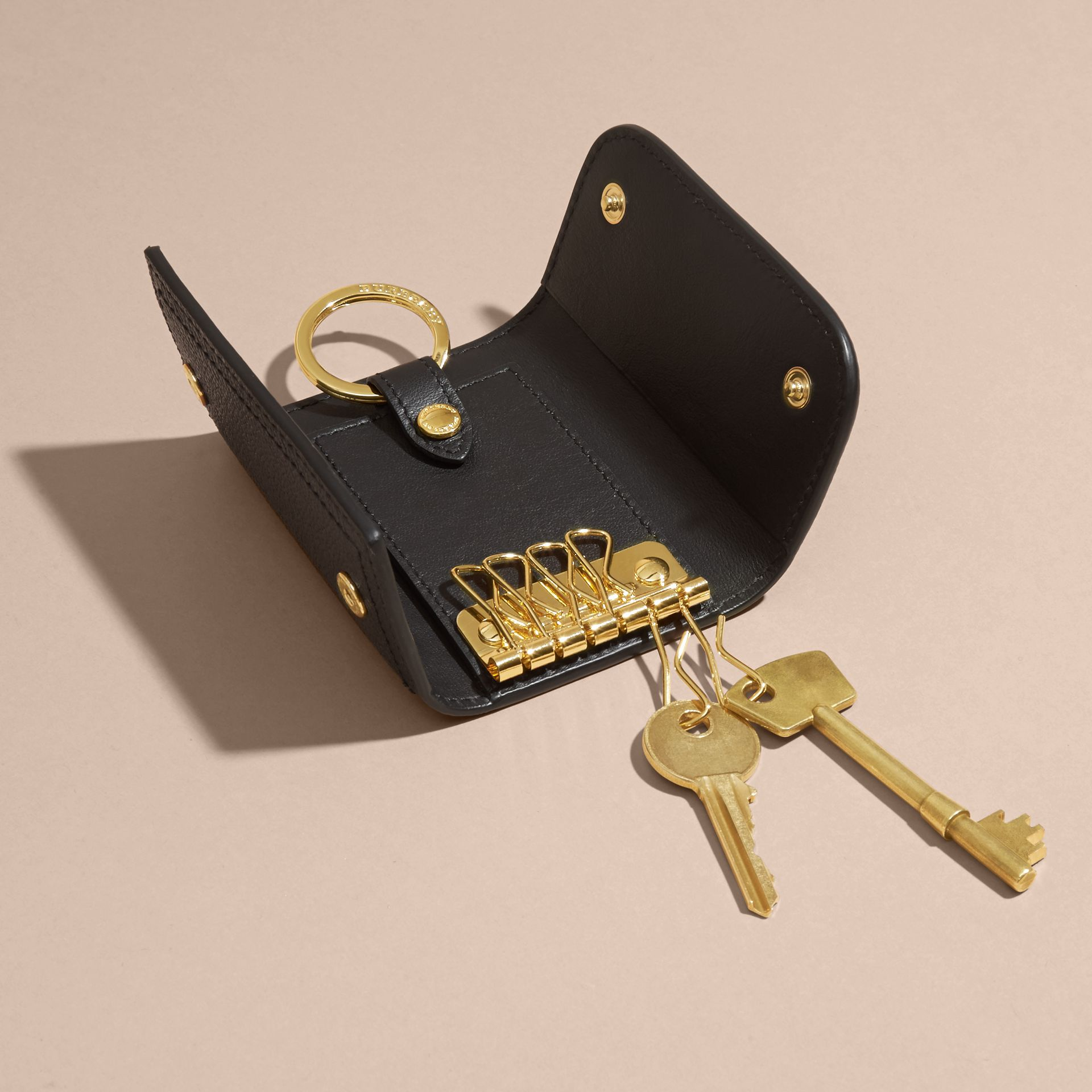 Grainy Leather Key Holder in Black - Women | Burberry - gallery image 5