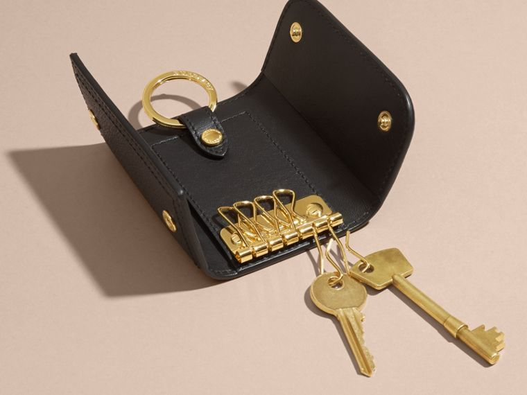 Grainy Leather Key Holder in Black - Women | Burberry - cell image 4