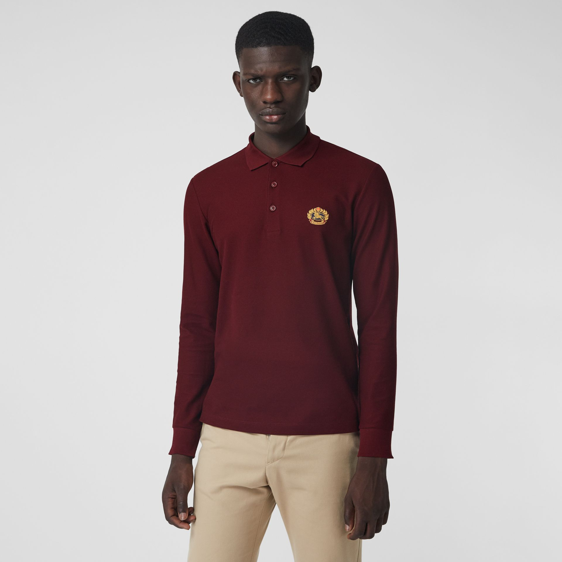 Long-sleeve Archive Logo Cotton Piqué Polo Shirt in Burgundy - Men | Burberry - gallery image 0