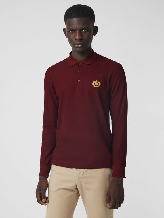 Long-sleeve Archive Logo Cotton Piqué Polo Shirt in Burgundy