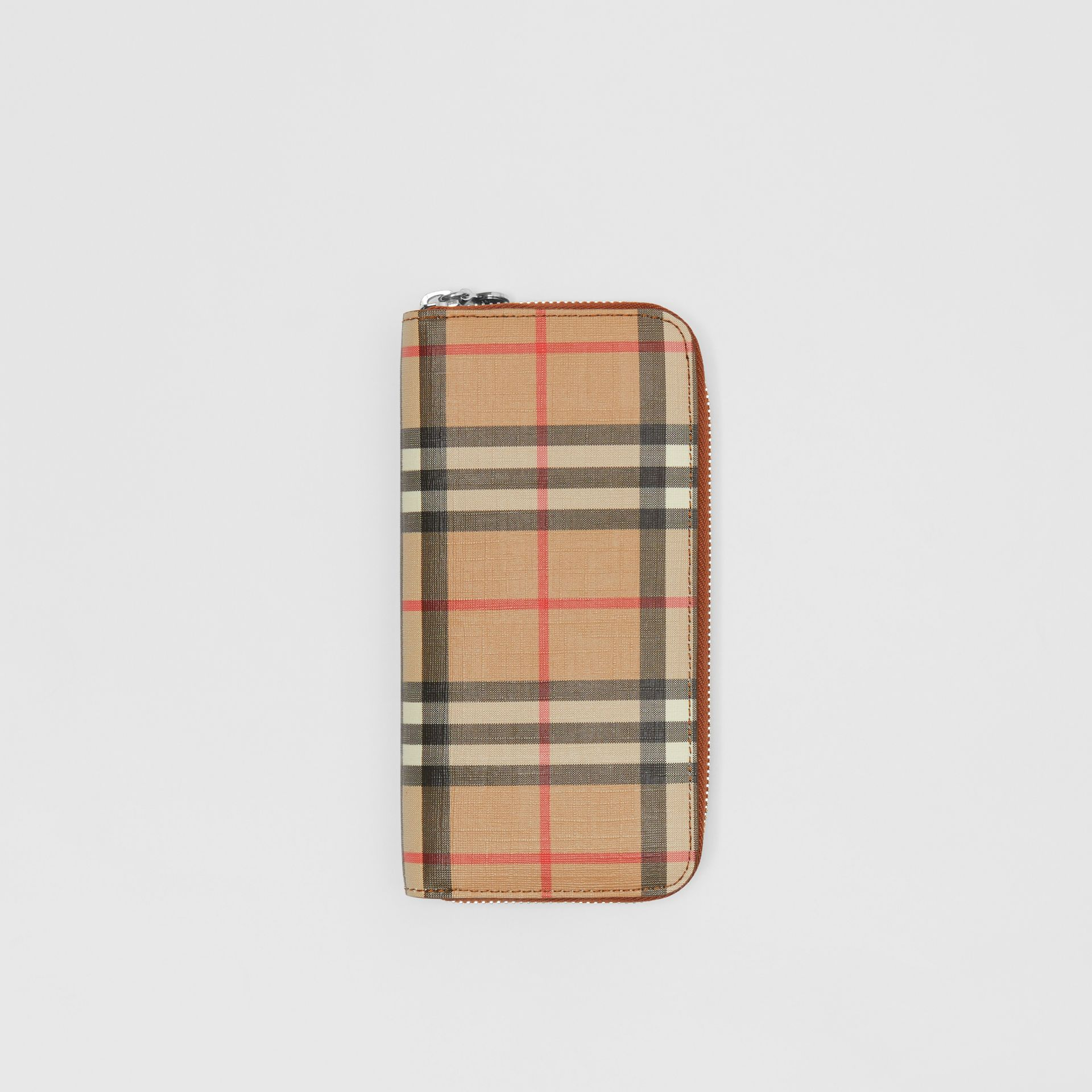 Vintage Check and Leather Ziparound Wallet in Malt Brown - Women | Burberry Australia - gallery image 0