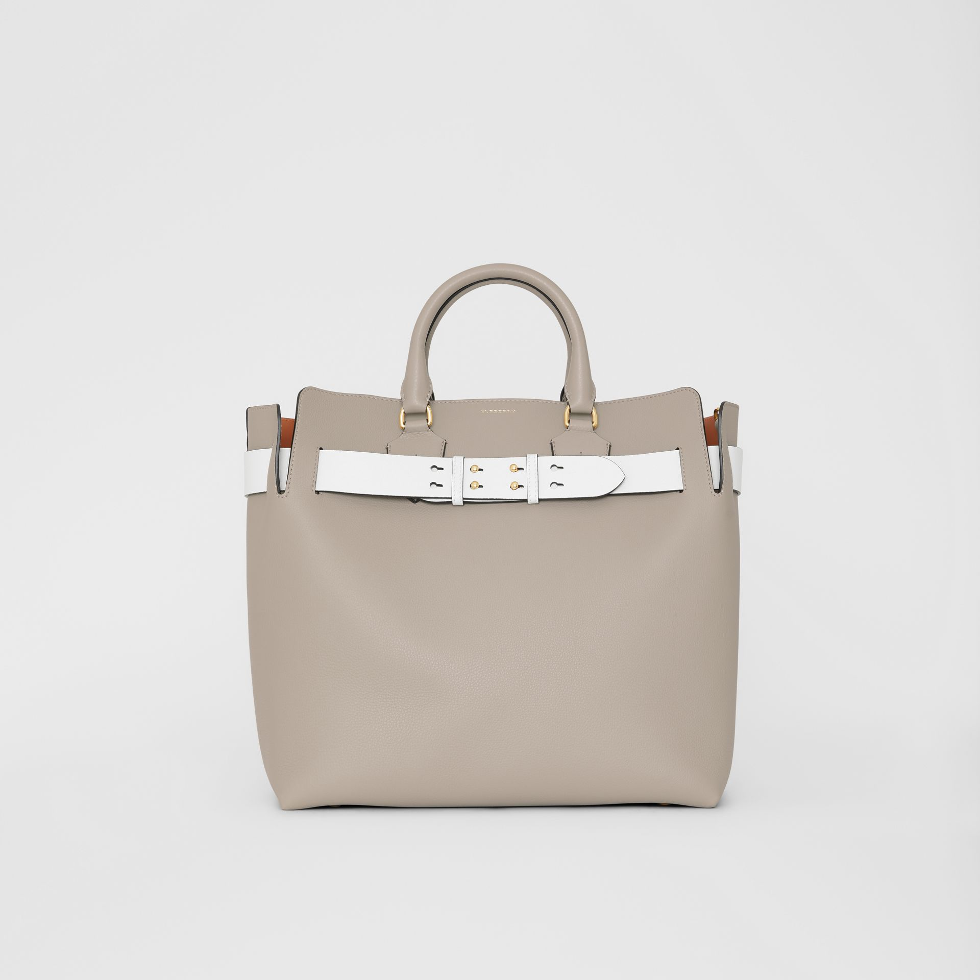 The Large Leather Belt Bag in Mineral Grey | Burberry - gallery image 0