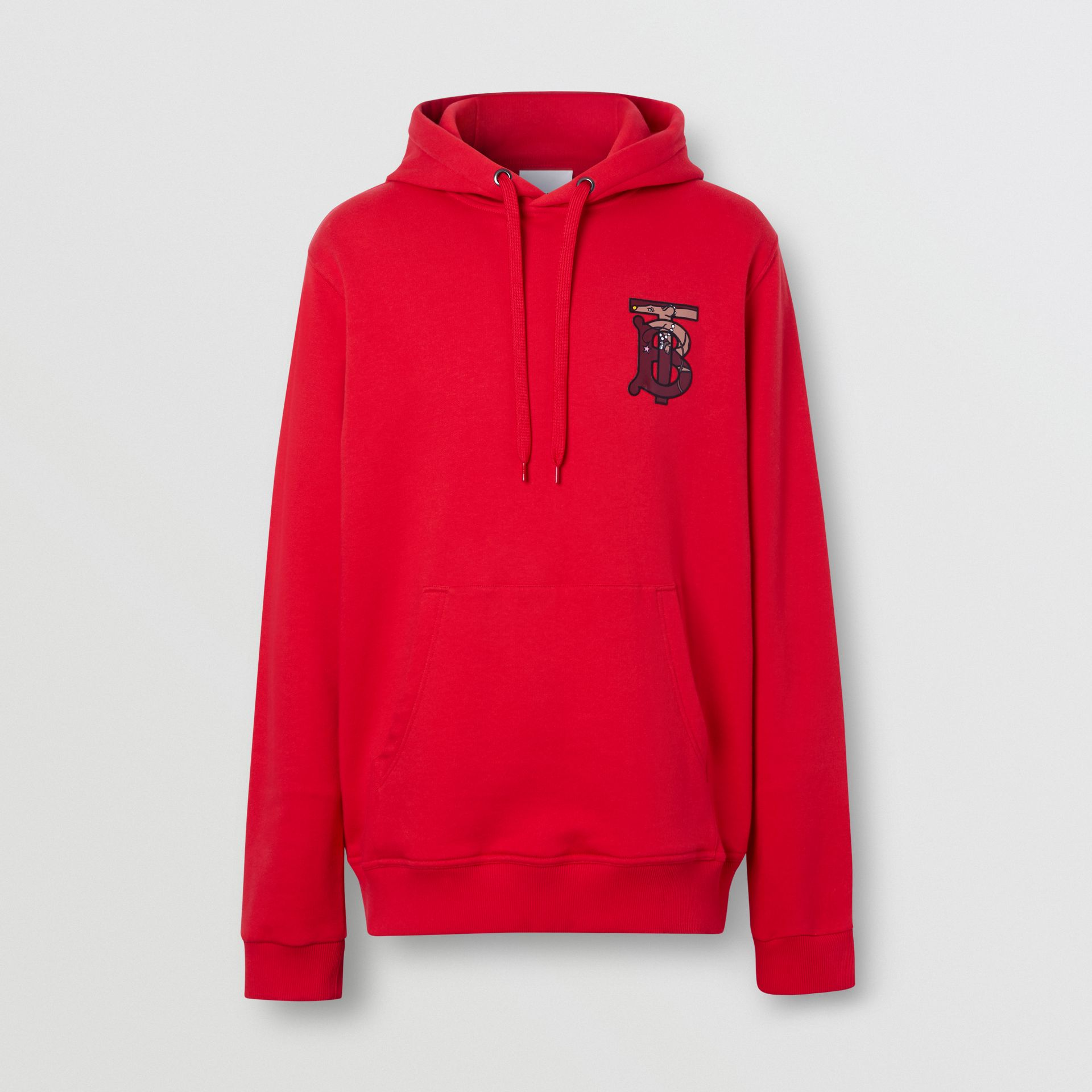 Monogram Motif Cotton Oversized Hoodie in Bright Red - Men | Burberry United Kingdom - gallery image 2
