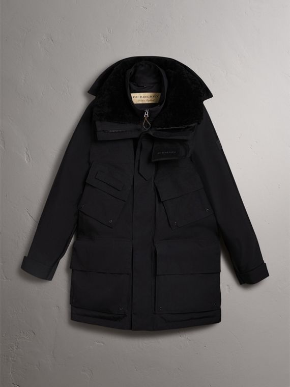 Detachable Shearling Collar Modular Jacket with Warmer in Black - Men | Burberry - cell image 3