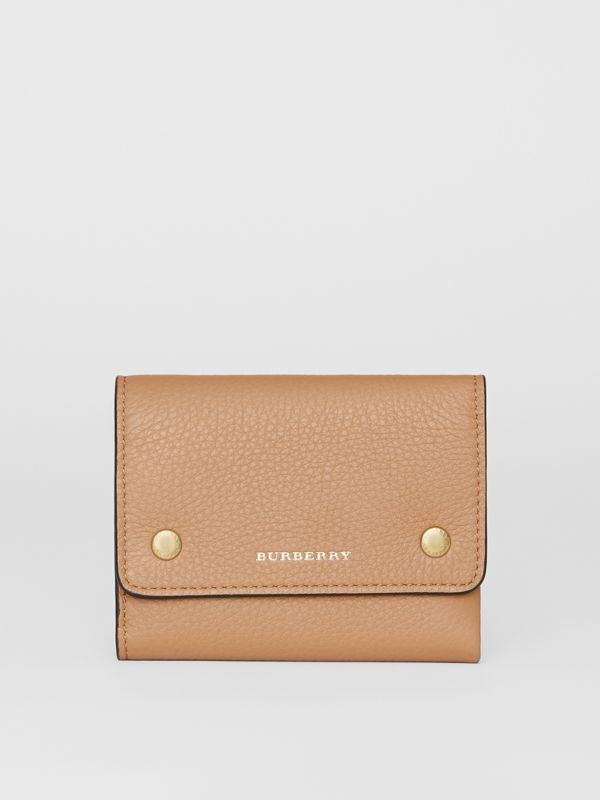Small Leather Folding Wallet in Light Camel - Women | Burberry - cell image 2