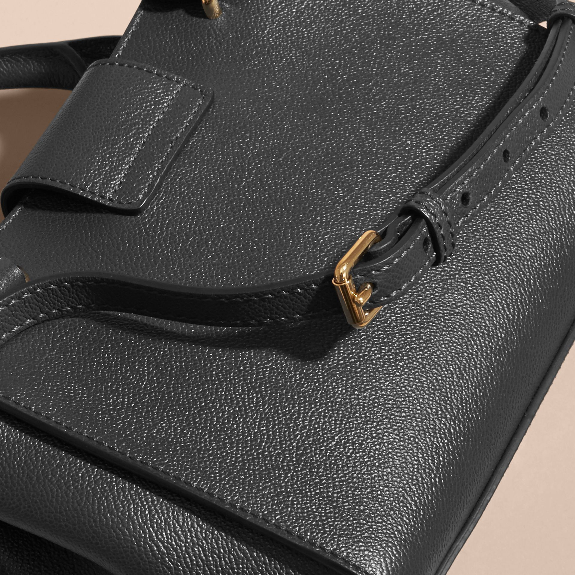 The Small Buckle Tote in Grainy Leather Black - gallery image 7