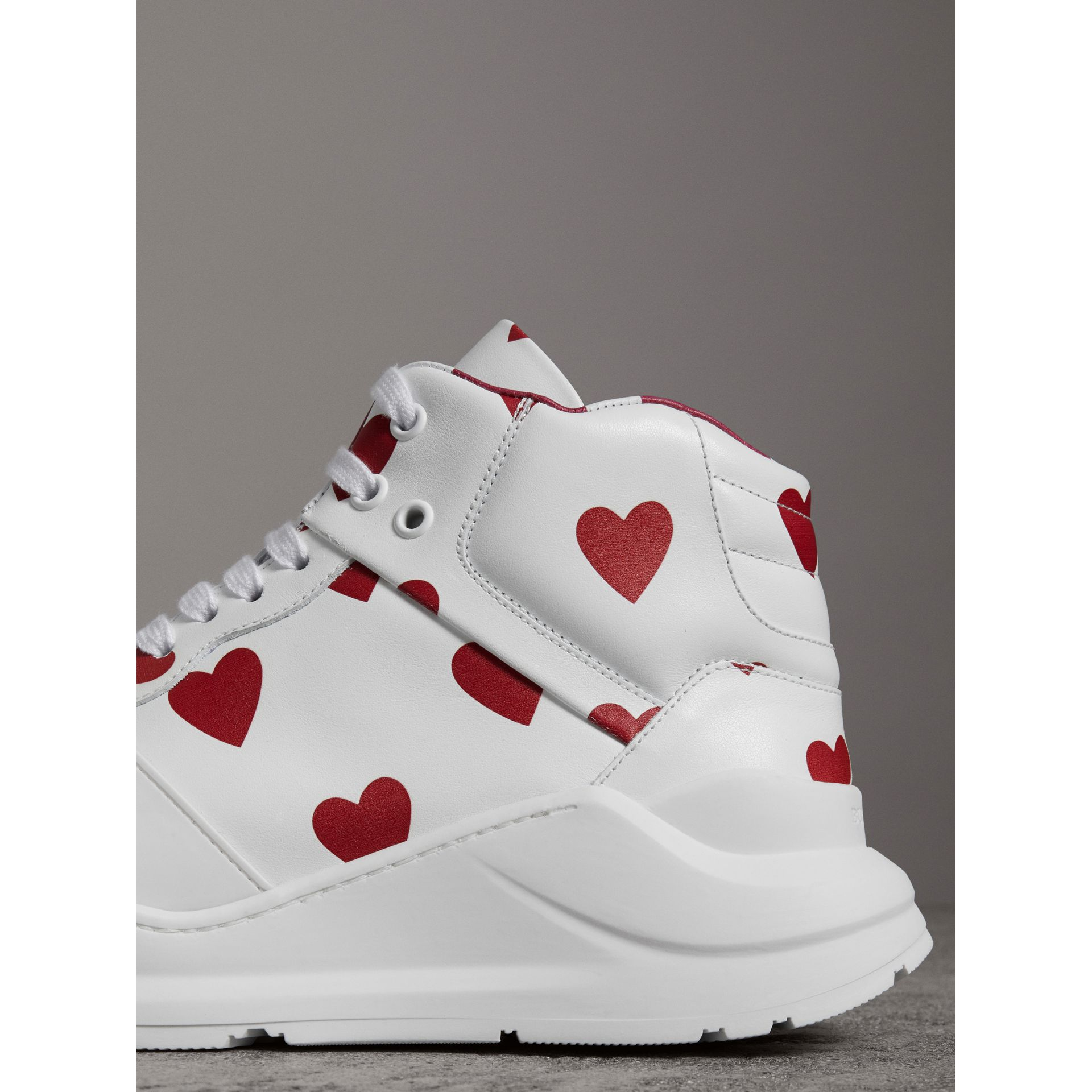 Heart Print Leather High-top Sneakers in Windsor Red/optic White - Women | Burberry Australia - gallery image 1