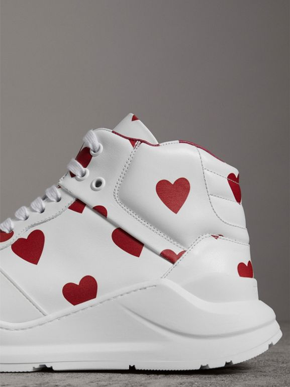Heart Print Leather High-top Sneakers in Windsor Red/optic White - Women | Burberry - cell image 1
