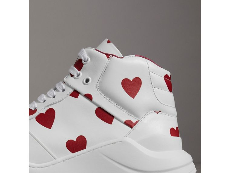 Heart Print Leather High-top Sneakers in Windsor Red/optic White - Women | Burberry Hong Kong - cell image 1