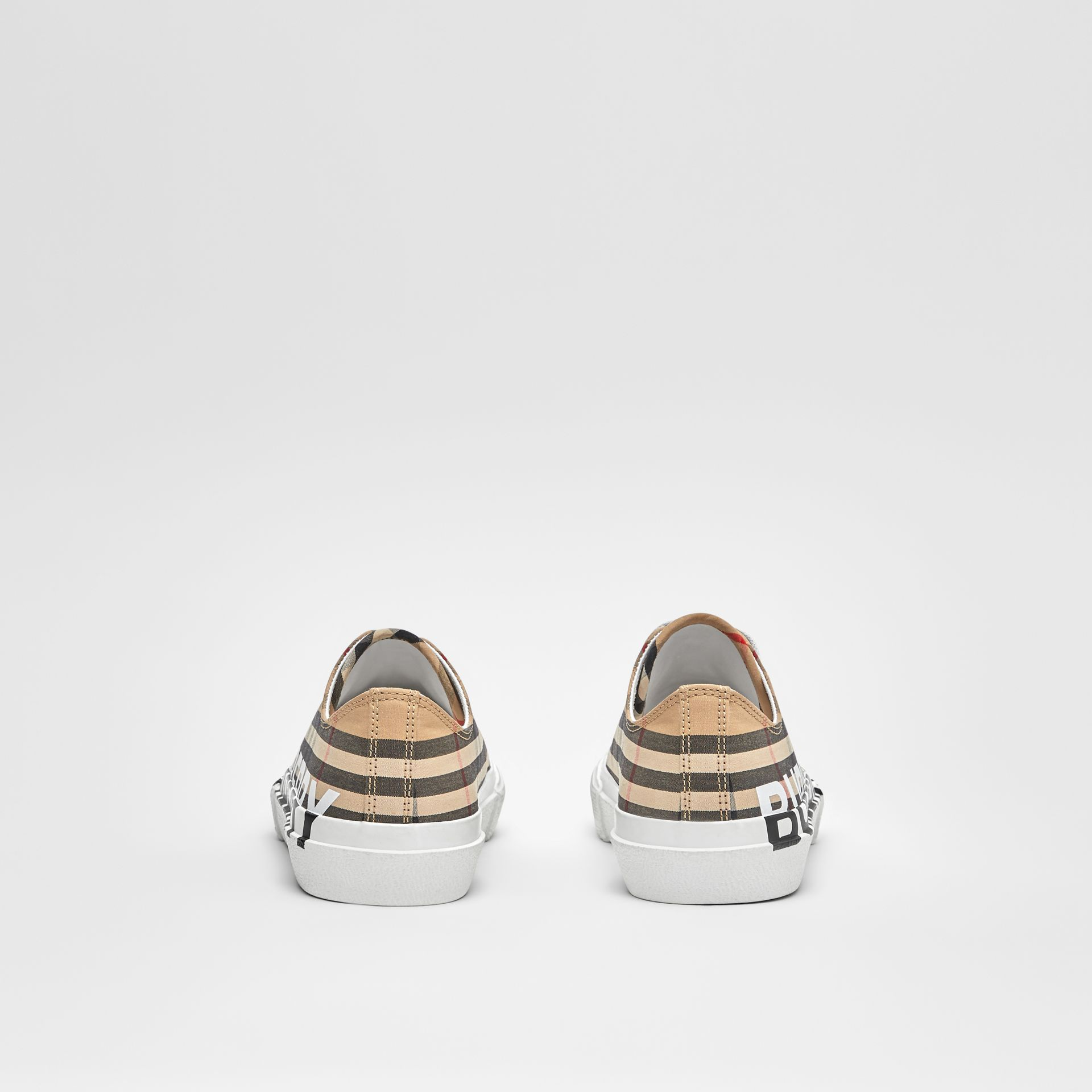 Logo Print Vintage Check Cotton Sneakers in Archive Beige - Women | Burberry - gallery image 3