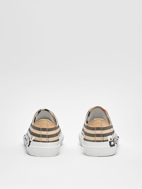 Logo Print Vintage Check Cotton Sneakers in Archive Beige - Women | Burberry - cell image 3