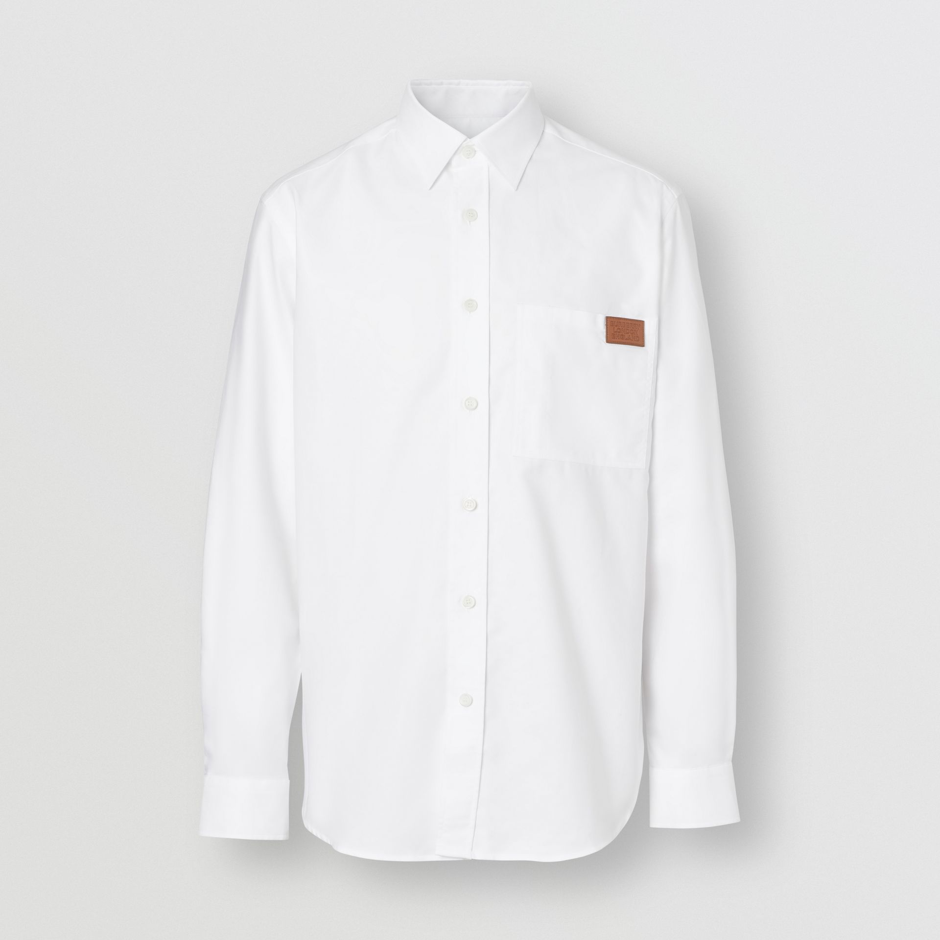 Logo Detail Cotton Oxford Shirt in White - Men | Burberry - gallery image 3