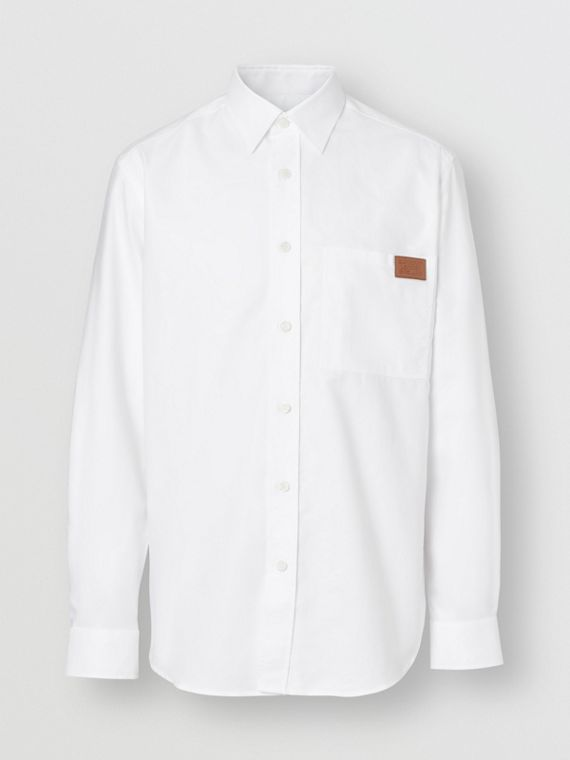 Logo Detail Cotton Oxford Shirt in White