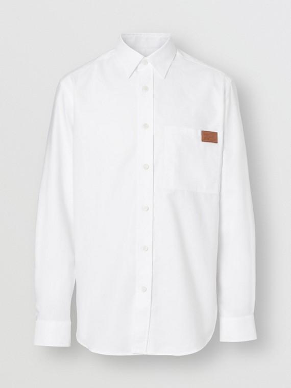 Oxford-Hemd aus Baumwolle mit Logo (Weiss)